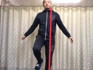 左片足立ちの時の重心の位置
