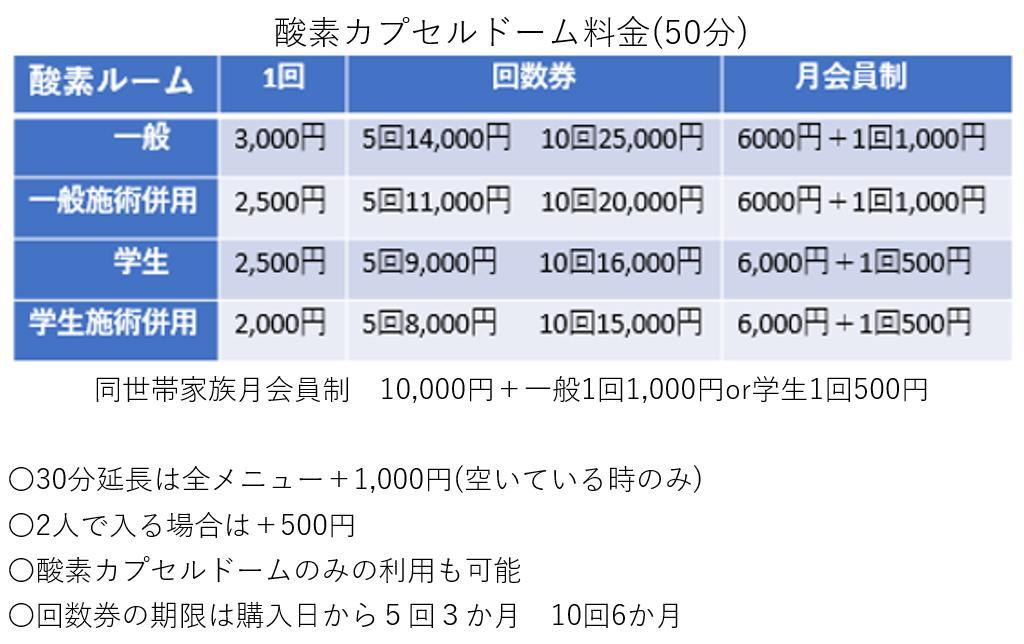 酸素カプセル料金表